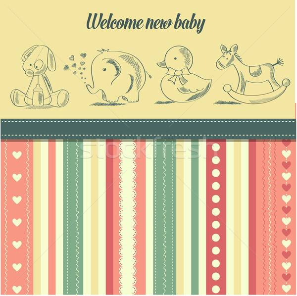 Stock photo: new baby  announcement card with retro toys