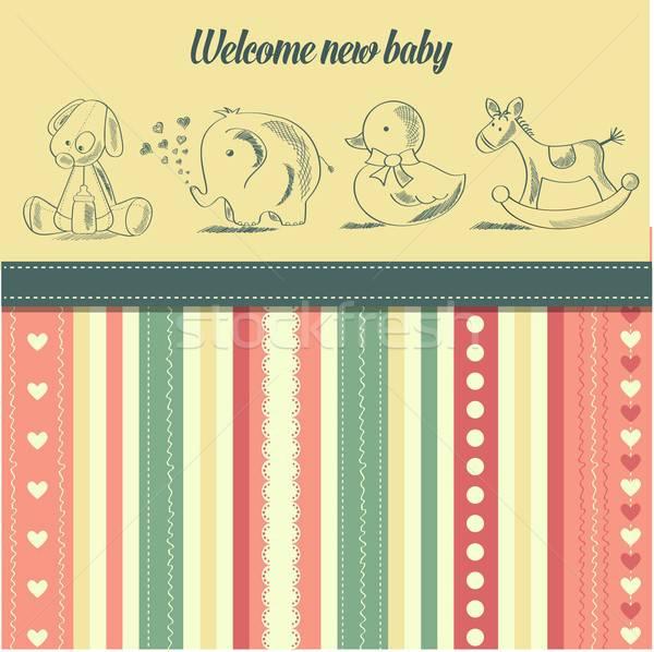 Stok fotoğraf: Yeni · bebek · duyuru · kart · Retro · oyuncaklar
