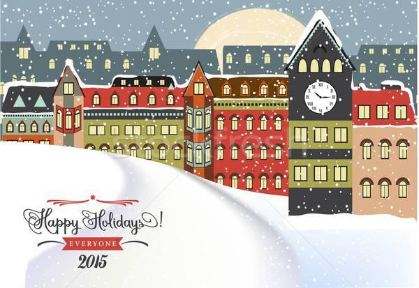 Stock photo: Winter Cityscape, Christmas Illustration