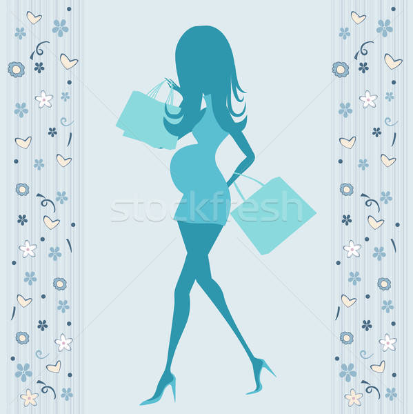 Stock photo: baby announcement card with beautiful pregnant woman