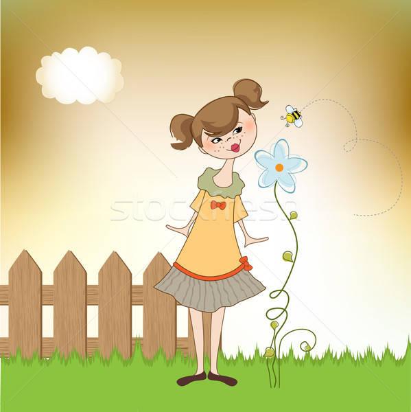 Pequeno jovem senhora flor menina borboleta Foto stock © balasoiu