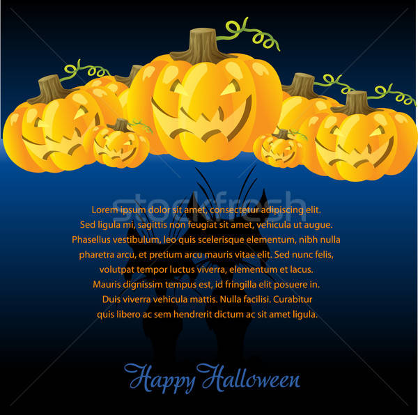 Halloween Illustration with Pumpkins for invite cards Stock photo © balasoiu