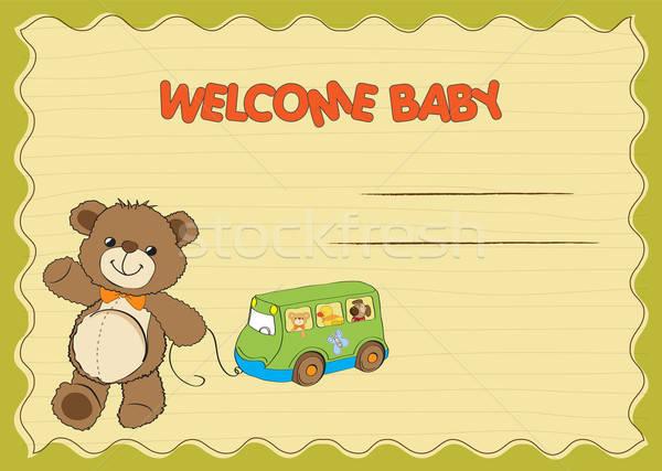 Stock photo: baby shower card with cute teddy bear