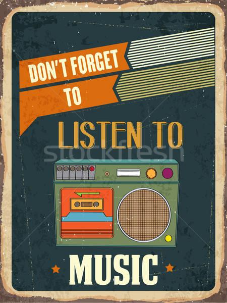 Retro metal segno ascoltare musica eps10 Foto d'archivio © balasoiu