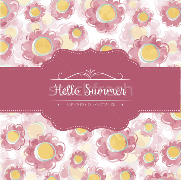 Stock photo: Watercolor floral  card  with message Hello Summer
