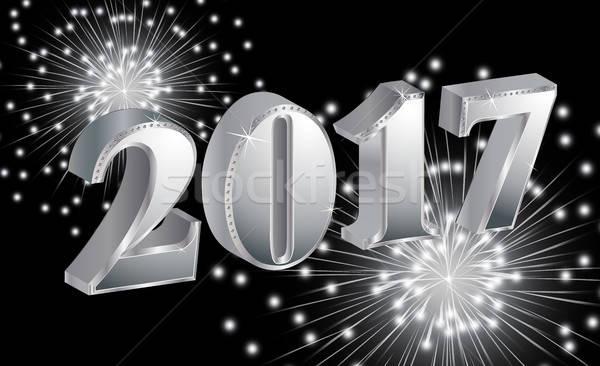 Luxus boldog új évet tűzijáték fekete háttér naptár Stock fotó © balasoiu