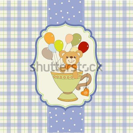 Teddybeer taart verjaardag wenskaart leuk chef Stockfoto © balasoiu
