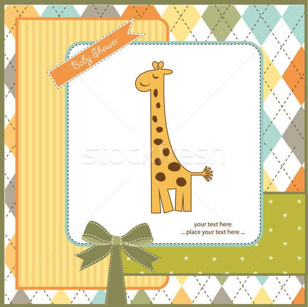 new baby announcement card with giraffe Stock photo © balasoiu