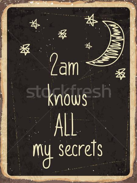 Retro fém felirat összes enyém titkok Stock fotó © balasoiu