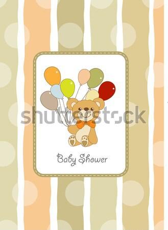 birthday card with teddy bear and balloons Stock photo © balasoiu