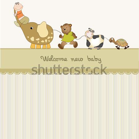 Stock photo: Delicate baby shower card with teddy bears