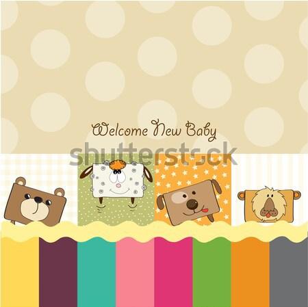 Doğum günü tebrik kartı oyuncak ayı büyük hediye kutusu gülümseme Stok fotoğraf © balasoiu