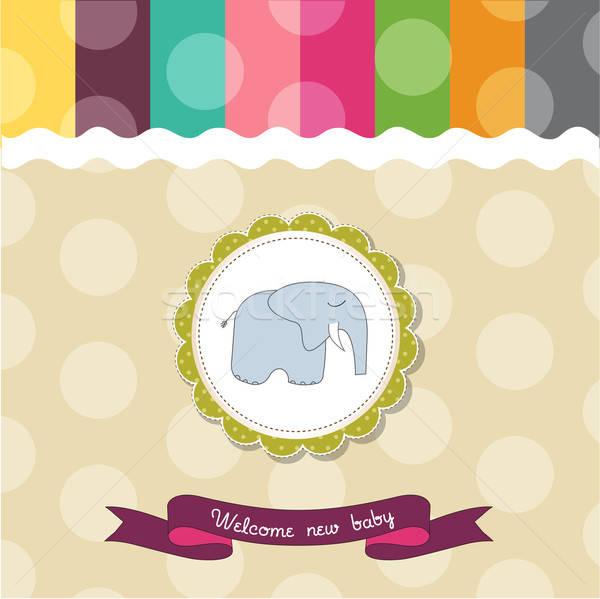 romantic baby announcement card Stock photo © balasoiu