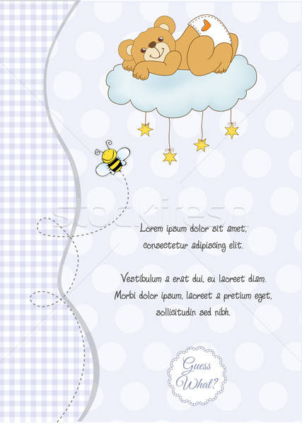 baby shower card with sleepy teddy bear Stock photo © balasoiu