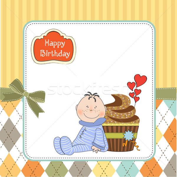 birthday greeting card with cupcake and little baby Stock photo © balasoiu