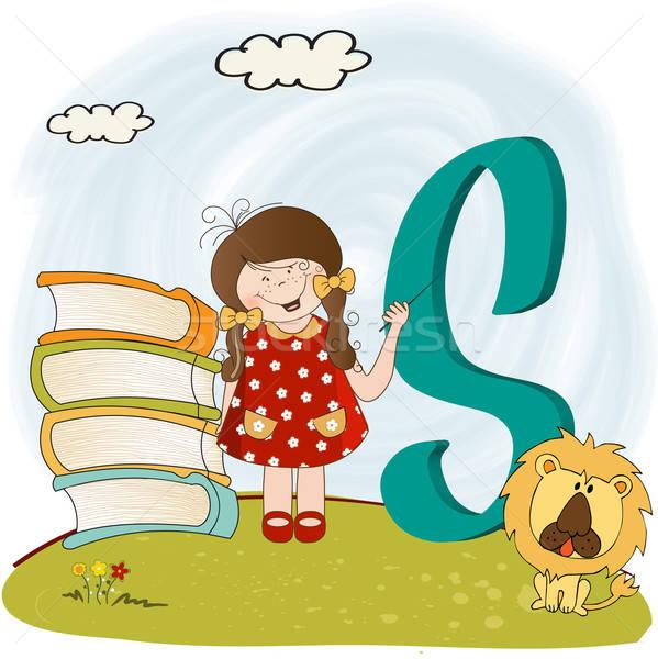 Kinderen alfabet brieven school natuur onderwijs Stockfoto © balasoiu
