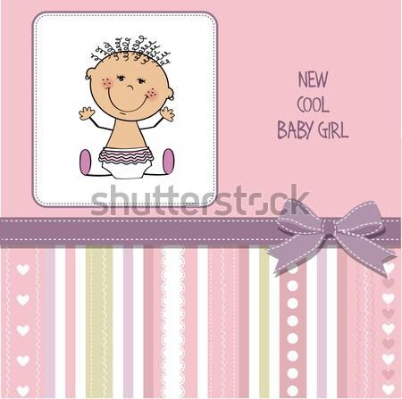 Kislány zuhany kártya kicsi plüssmaci vektor Stock fotó © balasoiu
