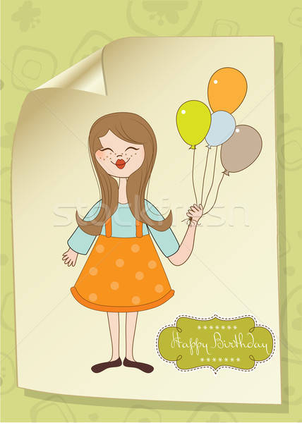 Funny girl with balloon, birthday greeting card Stock photo © balasoiu