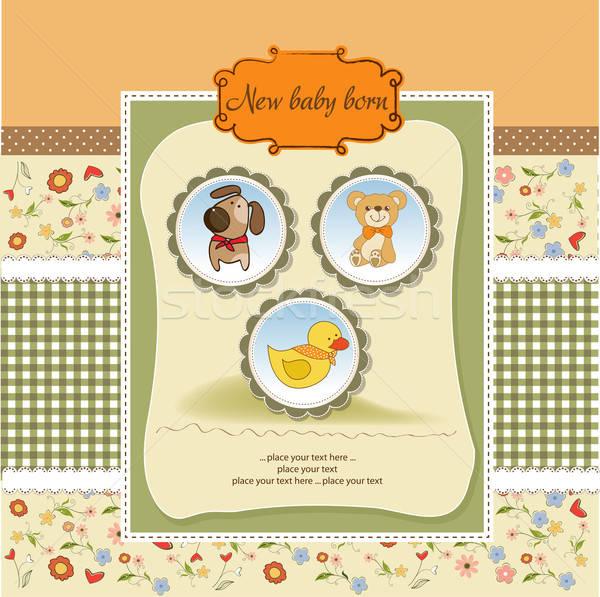 Baby douche aankondiging kaart liefde kind Stockfoto © balasoiu