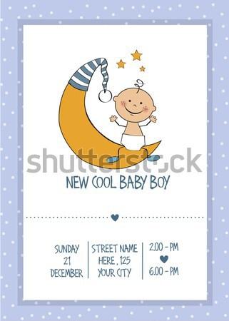 Baby tonen butt douche kaart glimlach Stockfoto © balasoiu