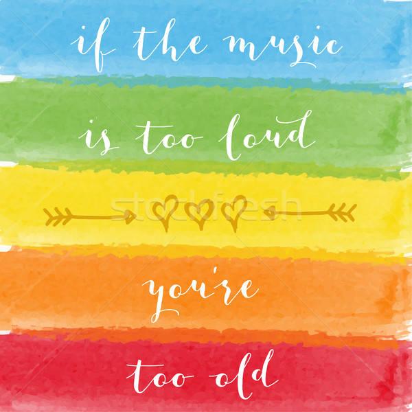 Muziek luid oude motivatie aquarel poster Stockfoto © balasoiu