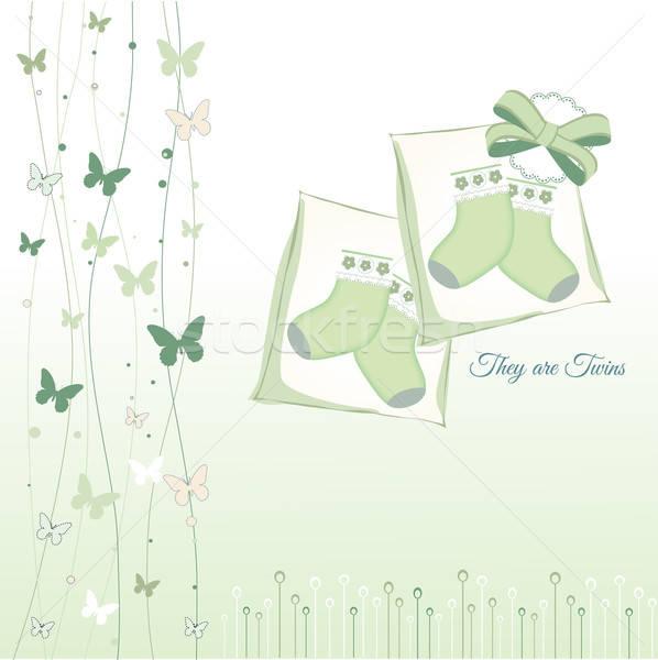 Tweelingen aankondiging wolken baby gelukkig verjaardag Stockfoto © balasoiu
