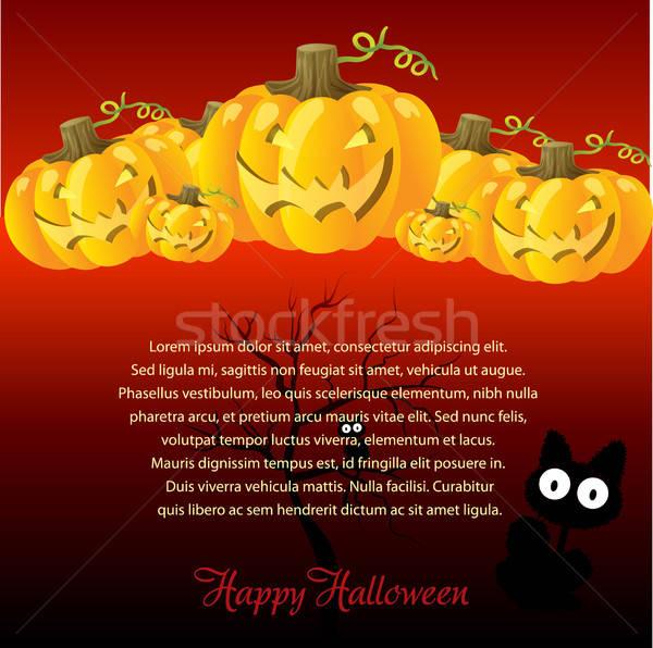 Halloween Illustration with Pumpkins for invite cards Stock photo © balasoiu