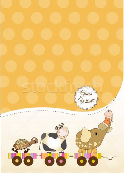 özelleştirilebilir bebek kart kız sevmek mutlu Stok fotoğraf © balasoiu