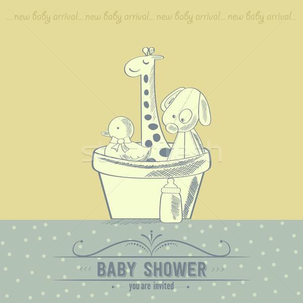 Bebê chuveiro cartão retro brinquedos mão Foto stock © balasoiu