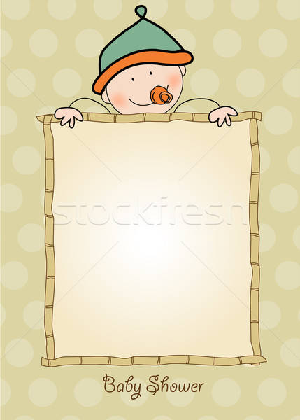 Baby jongen douche aankondiging kaart vector Stockfoto © balasoiu