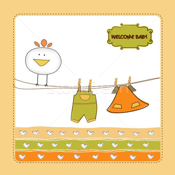 Nuovo baby annuncio carta pollo felice Foto d'archivio © balasoiu