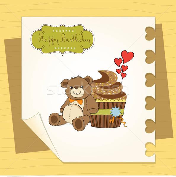 Verjaardag wenskaart teddybeer achtergrond snoep Stockfoto © balasoiu
