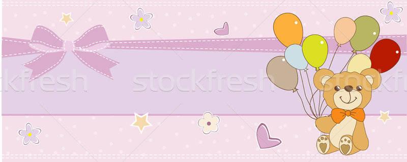 Bebé ducha tarjeta cute osito de peluche cumpleanos Foto stock © balasoiu