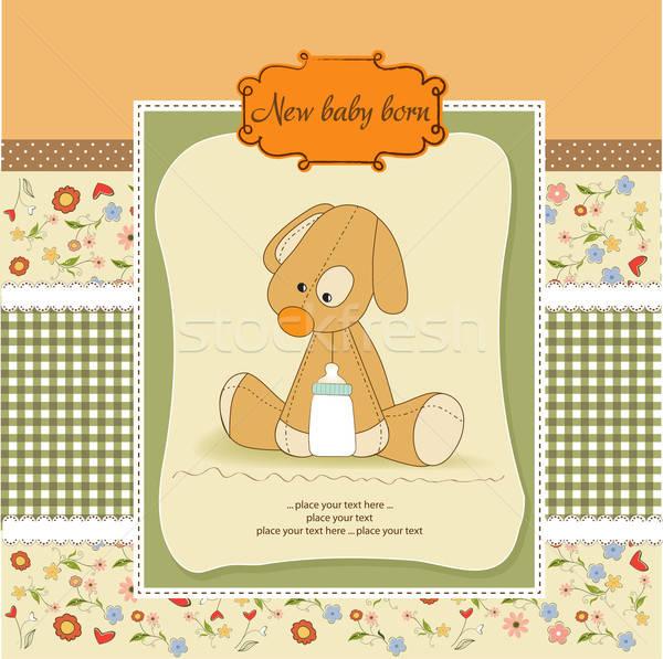 Baby douche kaart puppy partij verjaardag Stockfoto © balasoiu
