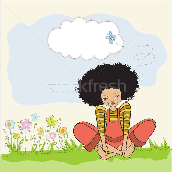 ロマンチックな 少女 座って 裸足 草 女性 ストックフォト © balasoiu