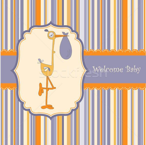 Baby douche kaart ooievaar textuur partij Stockfoto © balasoiu