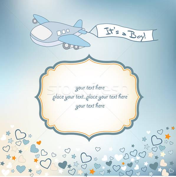 baby boy announcement card with airplane Stock photo © balasoiu