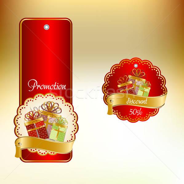 Luxus címke felirat tél piros áruház Stock fotó © balasoiu