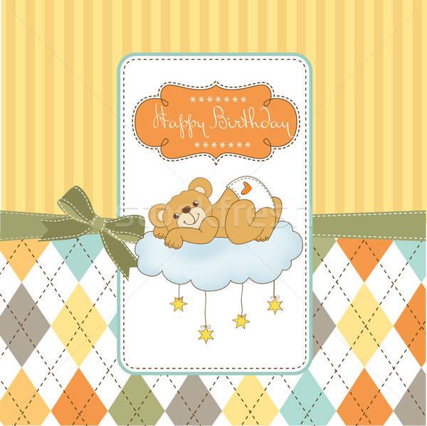 Foto stock: Bebé · ducha · tarjeta · soñoliento · osito · de · peluche · feliz