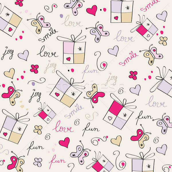 hand draw texture - seamless pattern with hearts, gifts, butterf Stock photo © balasoiu