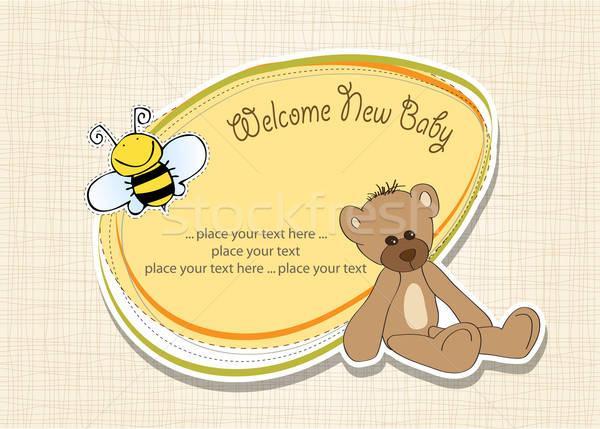 Baby douche kaart teddybeer speelgoed gelukkig Stockfoto © balasoiu