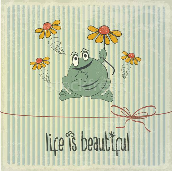 Retro illustration with happy frog and phrase 'Life is beautiful Stock photo © balasoiu