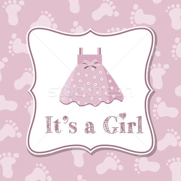 Baby girl invitation for baby shower Stock photo © balasoiu