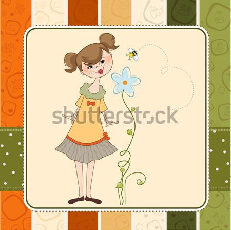 Güzel genç kız oturma mantar konuşma küçük Stok fotoğraf © balasoiu