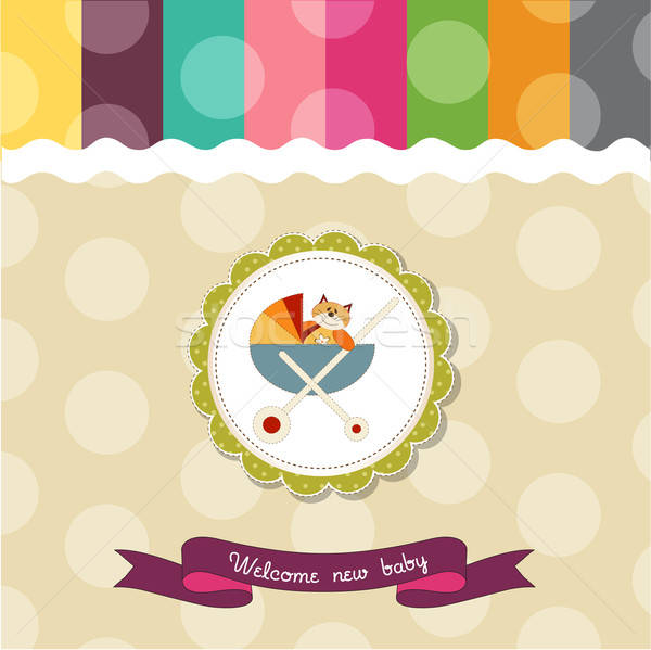 funny baby shower card with pram and cat toy Stock photo © balasoiu