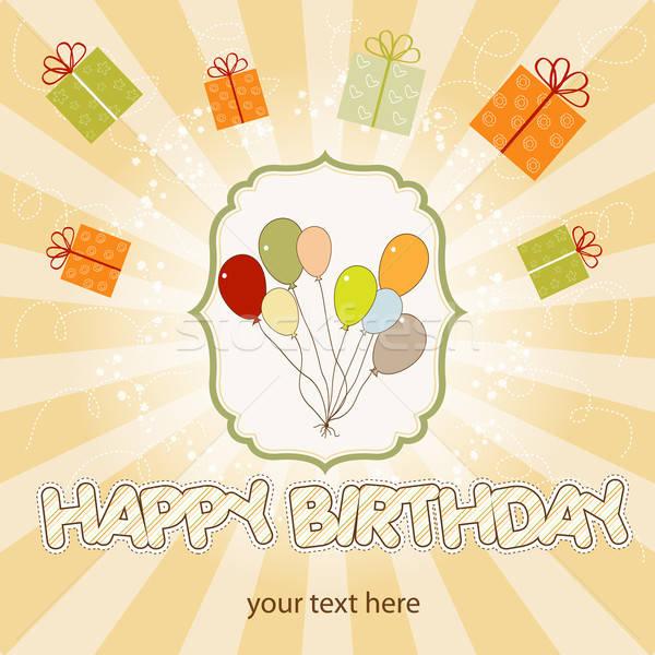 birthday card with balloon Stock photo © balasoiu