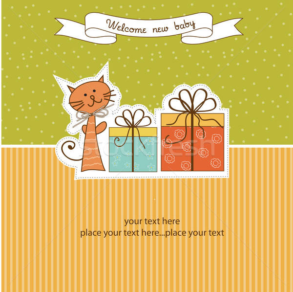 Verjaardag aankondiging kaart kat abstract achtergrond Stockfoto © balasoiu