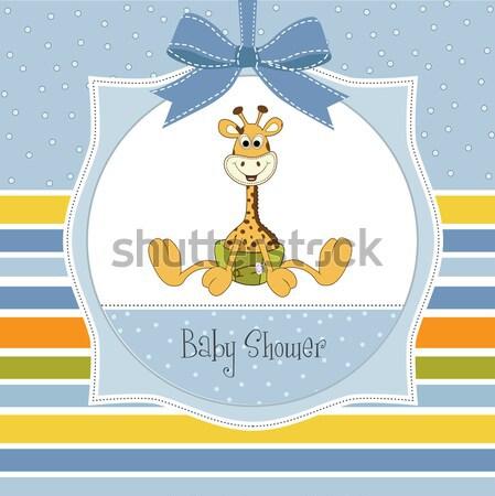 Nieuwe baby jongen kaart giraffe meisje vector illustratie claudia balasoiu - Ruimte jongensbaby ...