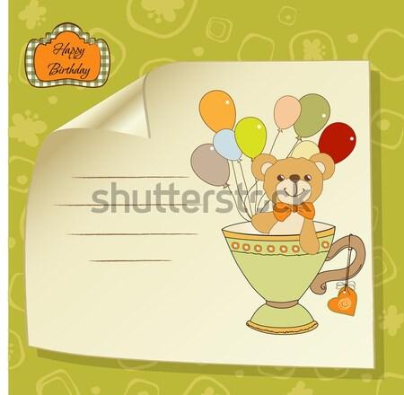 Baby aankondiging kaart meisje kunst leuk Stockfoto © balasoiu