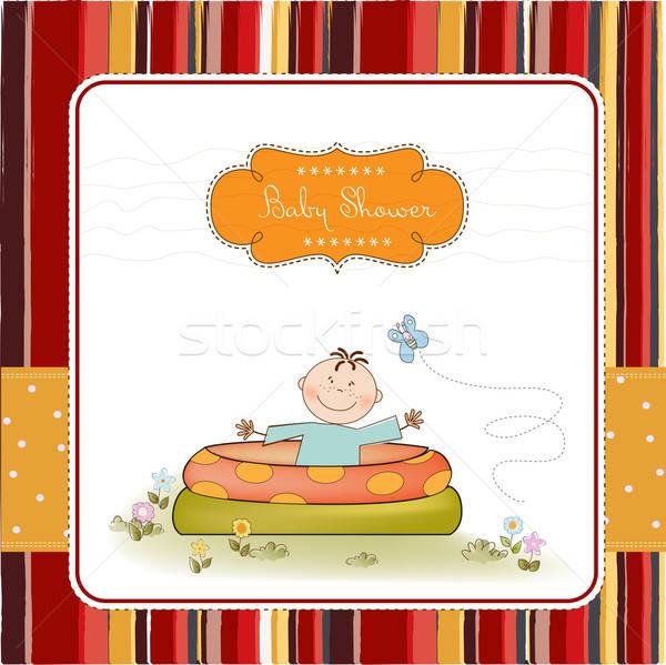 baby bathe in a small pool . shower announcement card Stock photo © balasoiu